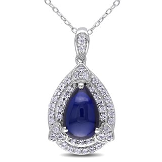 Miadora Sterling Silver Created Blue and Created White Sapphire Drop Necklace