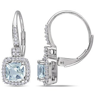 Miadora 10k White Gold Aquamarine and 1/5ct TDW Diamond Earrings (G-H, I1-I2)
