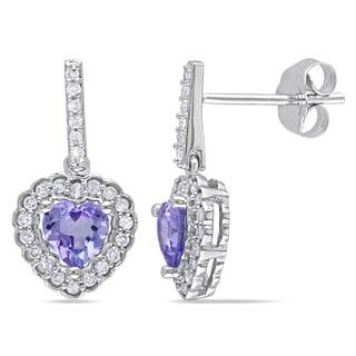Miadora 10k White Gold Tanzanite and 1/4ct TDW Diamond Earrings (G-H, I1-I2)