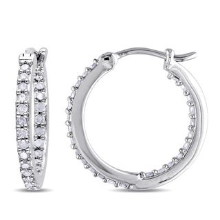 Miadora Sterling Silver 1/2ct TDW Diamond Hoop Earrings (J-K, I2-I3)
