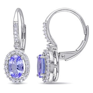 Miadora 10k White Gold Tanzanite and 1/5ct TDW Diamond Earrings (G-H, I1-I2)