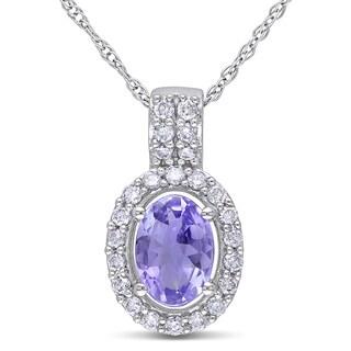 Miadora 10k White Gold Tanzanite and 1/5ct TDW Diamond Necklace (G-H, I1-I2)