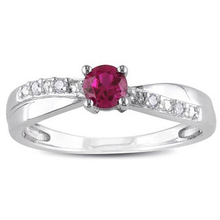 Miadora Sterling Silver Created Ruby and Diamond Ring