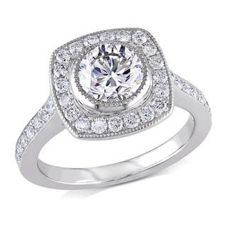 Miadora 18k White Gold 1 1/2ct TDW Certified Diamond Engagement Ring (G-H, SI1-SI2)