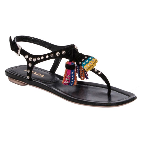Prada Women's Black Studded Suede Tassel Sandals