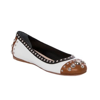 Prada Women's Tri-color Studded Leather Flats