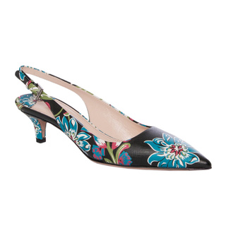 Prada Women's Floral Print Leather Point-toe Slingbacks