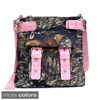 Realtree Camouflage Crossbody Bag with Belted Trim and Strap