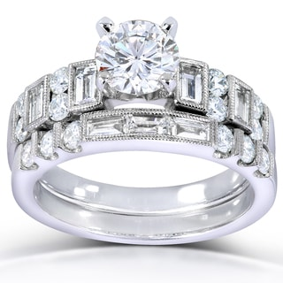 Annello 18k White Gold 2 1/5ct TDW Certified Diamond Bridal Set (F, SI2)