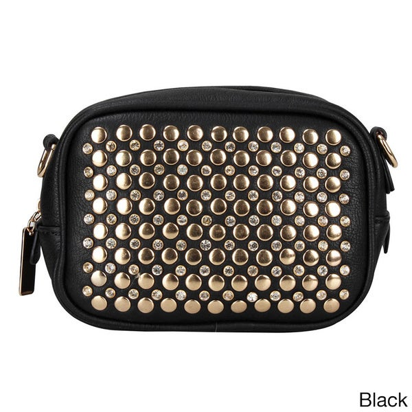 Zip Top Studded Clutch with Removable Shoulder Strap