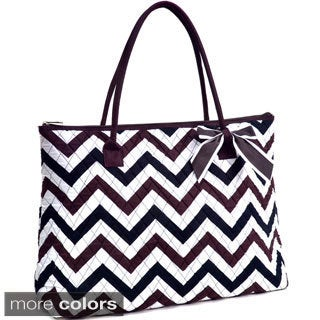 Large Oversized Quilted Chevron Print Tote Bag