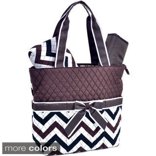 Rosen Blue Chevron Print Diaper Bag 3-piece Set
