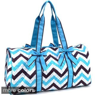 Rosen Blue Oversized Quilted Tote Bag with Optional Bow Decor in Chevron Print