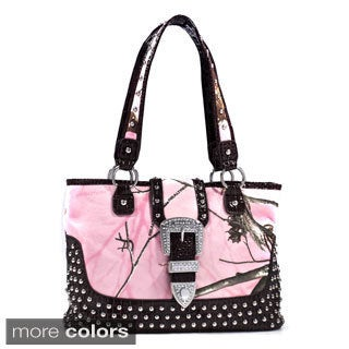 Realtree Camo Studded Tote Bag with Croco Trim and Buckle Accent