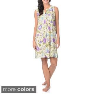 La Cera Women's Flower Print Nightgown Split Neck Pleated Placket