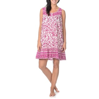 La Cera Women's Flower Print Sweetheart Neckline Nightgown