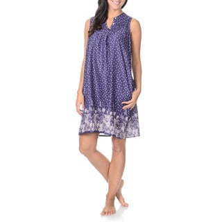 La Cera Women's Nightgown Button Round Pleated Yoke with Split Neck