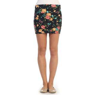 Hadari Women's Black Floral Mini Skirt