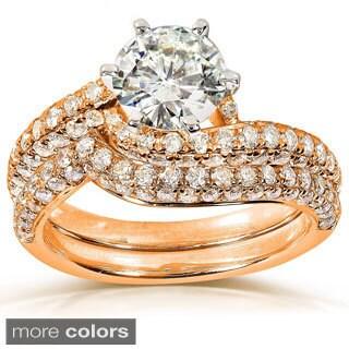 Annello 14k Gold Moissanite and 1ct TDW Pave Diamond Bridal Ring Set (G-H, I1-I2)