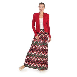Hadari Women's Red and White Tribal Maxi Skirt