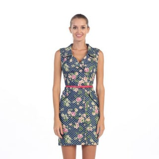 Hadari Women's Navy Polka-dot Floral Belted Sleeveless Dr