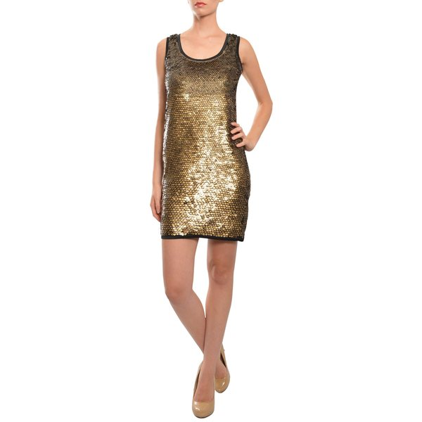 Diane von Furstenberg Women's Goldtone Sequined Shift Evening Party Dress