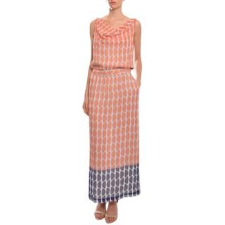 Diane Von Furstenberg Women's Chiffon Print Blouson Maxi Lou Lou Long Dress