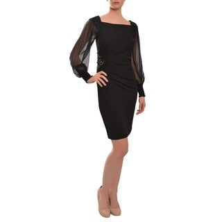 David Meister Women's Black Voluminous Chiffon Sleeve Evening Dress