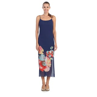 Hadari Women's Navy Floral Sleeveless Maxi Dress