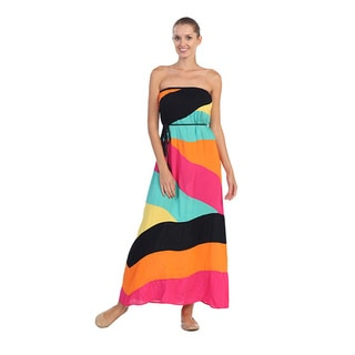 Hadari Women's Pink and Orange Geometric Strapless Maxi D