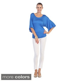 Hadari Women's Scoop Neck Cape-sleeve Top