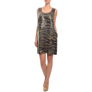 DKNY Women's Dazzling Animal Print Sequined Dress