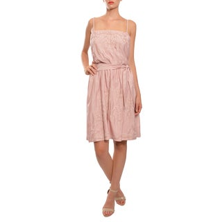 Emanuel Ungaro Women's Pink Embroidered Cotton and Silk Cocktail Party Day Dress