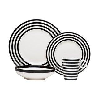 Red Vanilla Freshness Lines Black 4-piece Place Setting