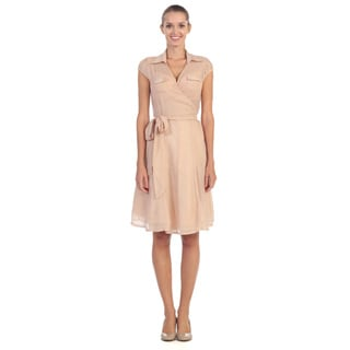 Hadari Women's Pink Elastic Waistband Dress
