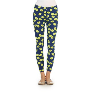 Hadari Women's Navy Flower Print Leggings