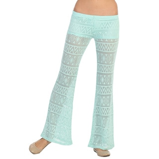 Hadari Women's Mint Tribal Plazzo Pants