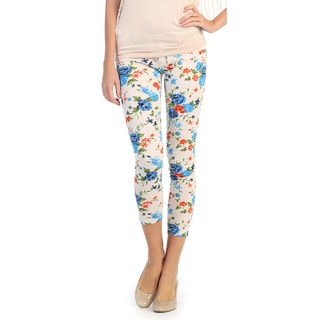 Hadari Women's Contemporary Floral Cropped Skinnies