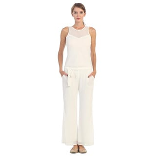 Women's White Tie-waist Sleeveless Jumpsuit