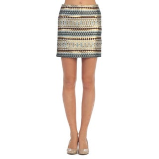 Hadari Women's Neutral and Goldtone Tribal Mini Skirt