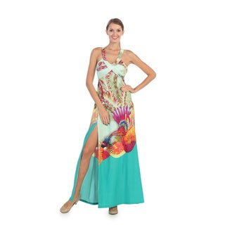 Hadari Women's Tropical Print Strappy Maxi Dress