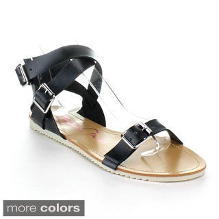 BellaMarie Women's Ankle Strap Gladiator Sandals