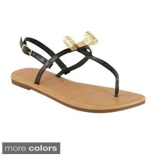 BellaMarie Women's Slingback T-Strap Flat Sandals