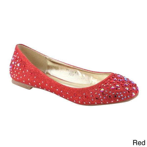 BellaMarie Women's Glitter Ballet Flats