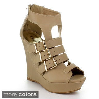 Refresh Women's Strappy Platform Gladiator Wedge Sandals