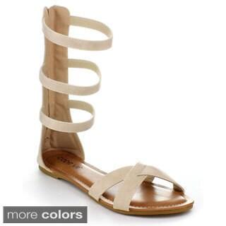 Machi Women's Gladiator Mid Calf Sandals
