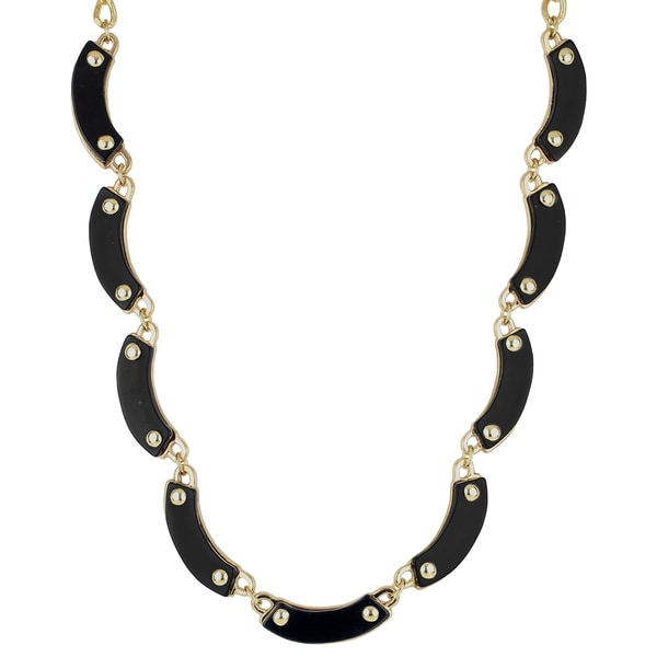 Roman Goldtone Metal Jet Black Crescent Collar Necklace