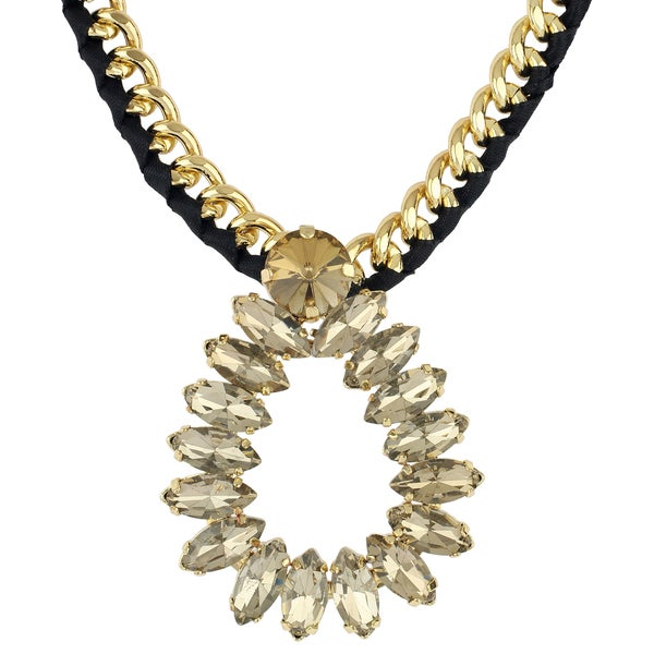 Roman Goldtone Metal Crystal Navette Woven Chain Necklace