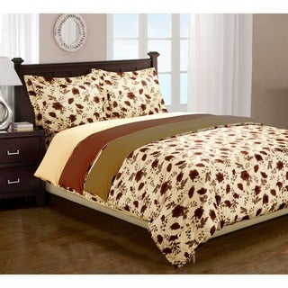 Elm Leaves Printed 3-piece Duvet Cover Set