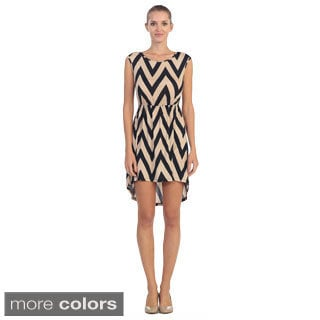 Hadari Women's Chevron Print High-low Dress